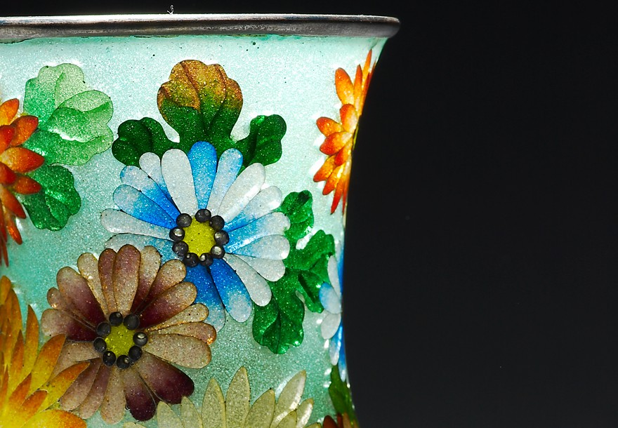 Plique-à-jour vase with chrysanthemums, Japan, about 1900-1910 (Museum no. EA1990.5)