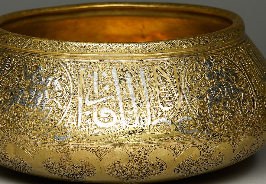 Bowl with figural and calligraphic decoration, Iran, 2nd half of the 14th century (Museum no. EAX.12