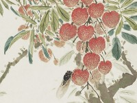 Detail of 'Lychees and cicada', by Chen Shuren, Hong Kong, 1928 (Museum no: EA2002.72)