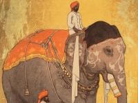 Detail of 'Elephant', by Hiroshi Yoshida, Japan, 1931 (Museum no: LI2200.17)