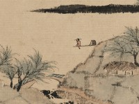 Detail of River Landscape, by Zha Shibiao, Yangzhou, China, 1666 (Museum No: EA1980.142)