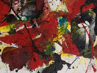 Detail of Red, yellow, and black abstraction, Taiwan, 1995, by Chen Zhengxiong (Museum no. LI1486.8)