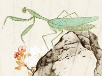Detail of Praying mantis, bee, and prunus blossom, by Chen Fen, China, 1881 (Museum No: EA1966.200)