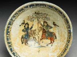 Bowl inscribed with good wishes, probably Kashan, late 12th to early 13th century (Museum no: EA1956