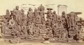Massed group of Gandhara Buddha and Boddhisattva images collected at Loriyan Tangai (Peshawar Distri, Photo by: Alexander E. Caddy, 1896. © The British Library Board, Photo 1003/(1042)