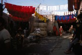 Dyed yarn drying in Marrakesh, Morocco, Photo by: May H. Beattie, 1970s. © Ashmolean Museum, University of Oxford