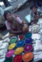 Street vendor of dyes at Bombay market, India, Photo by: May H. Beattie, 1970s. © Ashmolean Museum, University of Oxford