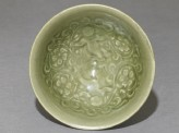 Greenware bowl with boys amid peony scrolls (top)
