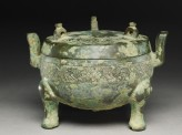 Ritual food vessel, or ding, with hunting scenes