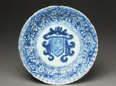 Blue-and-white dish with the Portuguese arms of Pinto