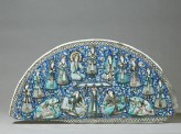 Semi-circular tile depicting Yusuf appearing before the women on Memphis (EA1965.169)