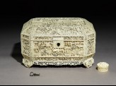 Ivory sewing box with floral decoration and figures