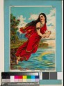 The goddess Ganga hovers over the waters carrying the child Bhishma