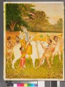 Shiva helping Parvati up onto Nandi's back, attended by ascetics