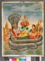 Vishnu attended by Lakshmi, Garuda in human form, and a sadhu carrying a lute