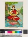Goddess of the Narmada or Nerbudda river, holding a small stone linga and mounted on a crocodile