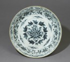 Blue-and-white dish with floral decoration (top)