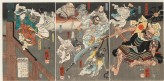 Minamoto Yoshitsune fights Benkei on Goj Bridge, with the help of tengu demons