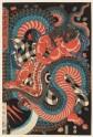 Kintarō grappling with a snake