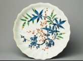 Plate with bamboo and prunus plants