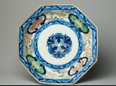 Octagonal plate with flowers and shishi, or lion dogs