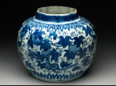 Blue-and-white jar with animals eating fruit