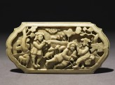 Ivory plaque with figures in a pastoral landscape