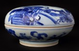 Blue-and-white box and lid with moon goddess Chang E