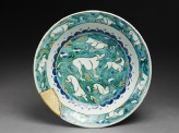 Dish with hares, hounds, and a stag