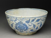 Bowl with bird and peonies (oblique)