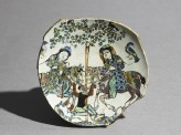 Base fragment of a dish with two men on horse-back fighting a non-human creature
