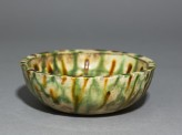 Bowl with striped three-coloured glaze