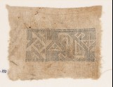 Textile fragment with spiral, inverted hooks, triangles, and S-shapes