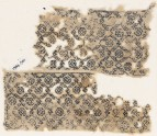Textile fragment with diagonal grid containing rosettes (EA1984.561)