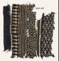 Textile fragment with linked chevrons and diamond-shapes