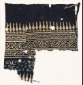 Textile fragment with stylized bodhi leaves, vines, and a rosette