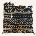 Textile fragment with diamond-shapes, S-shapes, and quatrefoils