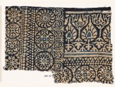 Textile fragment with rosettes, arches, stylized trees or flowers, and leaves