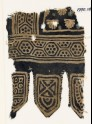 Textile fragment with hexagons and palmettes, and three tabs (EA1990.189)
