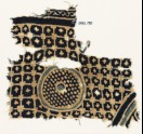 Textile fragment with grid, stars, and a circle with dots (EA1990.195)