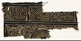 Textile fragment with squares with quatrefoils, rectangles, and swirling tendrils