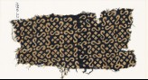 Textile fragment with S-shapes, dots, and squares