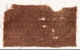 Textile fragment with parts of circles, stylized bodhi leaves, and diamond-shapes (EA1990.344)