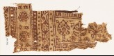 Textile fragment with stylized trees and three-layered rosettes (EA1990.362)