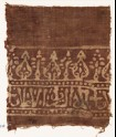 Textile fragment with stylized trees and script (EA1990.374)