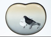Kidney-shaped tray with two pigeons