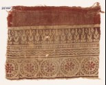 Textile fragment with rosettes in dotted circles, and abstract plants (EA1990.515)