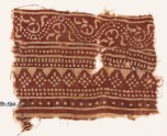 Textile fragment with bands of dotted patterns and vine (EA1990.534)