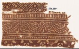 Textile fragment with bands of dotted vine, small stars and dots, and flowers (EA1990.550)