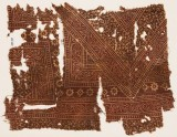 Textile fragment with bands of dotted vines, stars, and serrated crosses (EA1990.564)